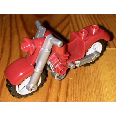 LEGO Part  Motorcycle Vintage with Flat Silver Chassis and Light Bluish Gray Wheels